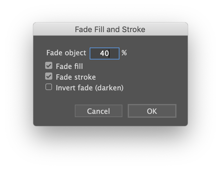 Fade Fill and Stroke dialog